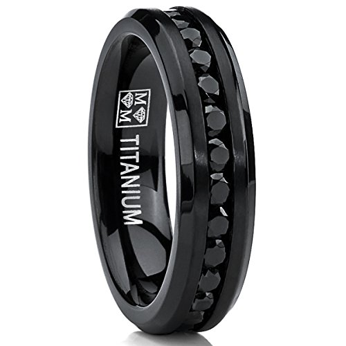 6MM Black Womens Eternity Titanium Ring Wedding Band W/ Black Cubic Zirconia Size 7.5