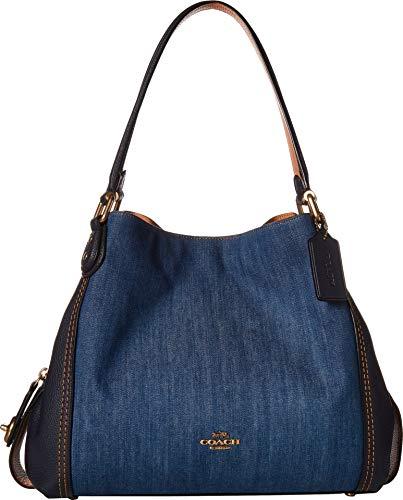 COACH Women's Denim and Leather Blocked Edie 31 Shoulder Bag Medium Denim/Brass One ()
