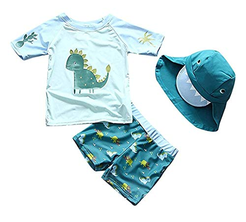 "Baby Toddler Boys Two Pieces Swimsuit Set Swimwear Dinosaur Bathing Suit Rash Guards with Hat UPF 50+ (Lake Blue, 2-3 Years(Height:37""-41""/94-106cm))"