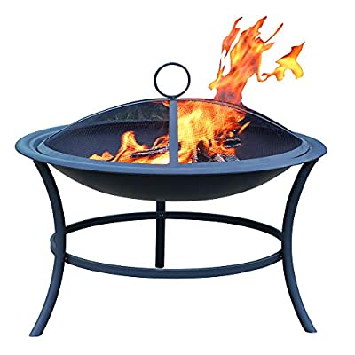 Steel Fire Pit Wood Burning Bowl - New and Popular for back yard,Wood burning, 29.3inch round design, resist- rust dural steel crossweave, portable fire pit with spark guard, mesch screen,SKU# 1118017 - 【★☆】MOST POPULAR SIZE FOR GARDEN BACKYARD: this fire pit overall dimension:29.3x29.3x16.5inch, big size round style, which is better to use at your big backyard, the fire bowl is easy to clear the waste of wood burning 【★☆】PROFESSIONAL FUNCTION AND ACCESSORY: this steel fire pit has diamond shape for the overview when the fire starting, looks very nice during the dark. portable spark guard and screen to make it safe, 3 strong steel legs to fix on the body to make it stable when you burn the wood, light weight for carrying after action 【★☆】EASY ASSEMBLY AND LEIGHT WEIGHT: ready the manual and check the parts list before you start the assembly, so simple to asembly by one 1 person if you are a DIY lover, after your assembly, take it to one suitable space in your backyard, then start your burning, enjoy it! - patio, fire-pits-outdoor-fireplaces, outdoor-decor - 41njNcheVDL. SS400  -