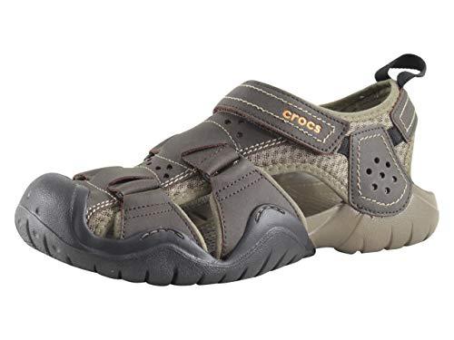 Crocs Men's Swiftwater Leather M Fisherman Sandal, Espresso/Walnut, 9 M US -