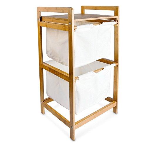 Relaxdays Wäschesammler LINEA Bambus H x B x T: ca. 73 x 37 x 33 cm Wäschekorb mit 2 Fächern als Ablage als praktischer Wäschepuff aus waschbarem Leinen zum Herausziehen mit seitlichen Griffen, natur