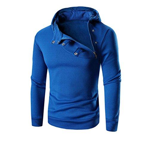 OverDose La chaqueta de la chaqueta de las tapas de la sudadera con capucha de la manga larga retro de los hombres Outwear Azul