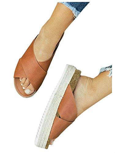 - Women's Platform Espadrilles Criss Cross Slide-on Open Toe Faux Leather Studded Summer Sandals (8 B(M) US, 1-Brown)