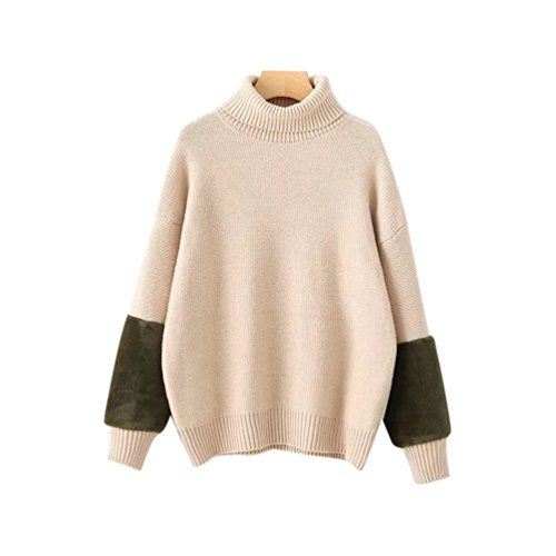 Beige Epais YAANCUN Manches Pull Col Chaud Oversize Sweater Longue Haut Patchwork Tunique Femme Maille Pull Hiver Longues w1FwHa