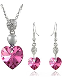 Sparkling Oval Dangle Heart Swarovski Elements Crystal Rhodium Plated Necklace Earrings Set