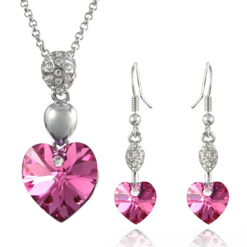 Sparkling Oval Dangle Heart Swarovski Elements Crystal Rhodium Plated Necklace Earrings Set - (Pink Sparkling Heart)