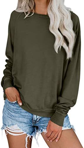 Biucly Womens Casual Loose Crewneck Long Sleeve Sweatshirts Solid & Tie Dye Soft Thin Pullover Blouses Shirt Tops