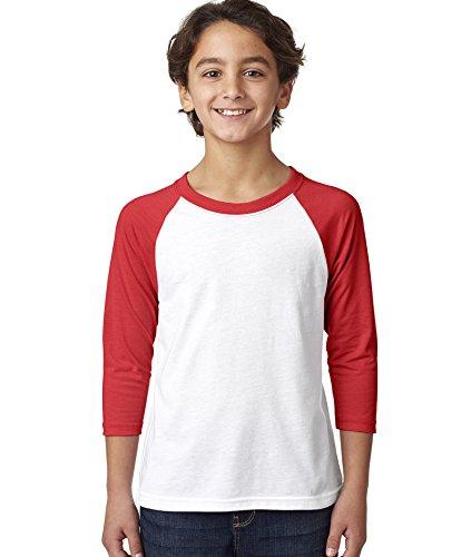 Next Level Big Boy's 3/4-Sleeve Rib-Knit T-Shirt, M, Red / White