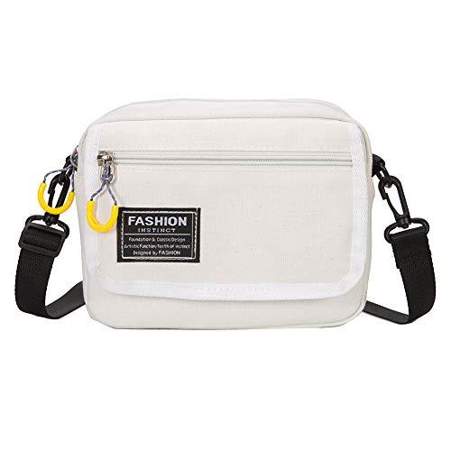 CactusAngui Bolsa Moda deportiva Estampado de letras Bolso de lona Bolso de bandolera de mujer ajustable White