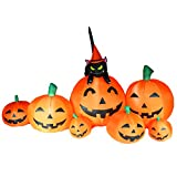 Joiedomi Halloween Inflatable Blow Up 7 Pumpkins with Witch's Cat - 8 Ft Wide