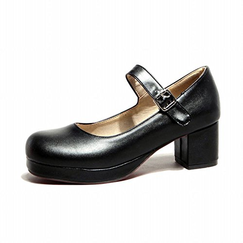 Carol Shoes Women's Fashion Sweet Lolita Cosplay Buckle Platform Chunky Mid Heel Mary Janes Shoes (10, Black)