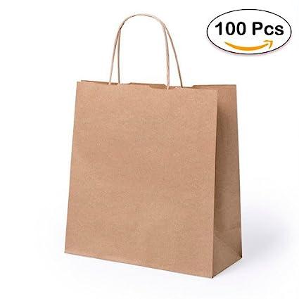 Lote de 100 Bolsas de Papel Kraft 23 x 22 x 9 cm - 100 Gr/m2 - Bolsas Marrones Kraft Retro Natural - Bolsas de Papel Baratas para Tiendas de Regalos, ...