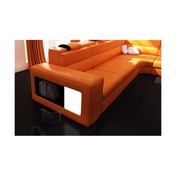 VIG Furniture 5022 Polaris Orange Bonded Leather Sectional Sofa
