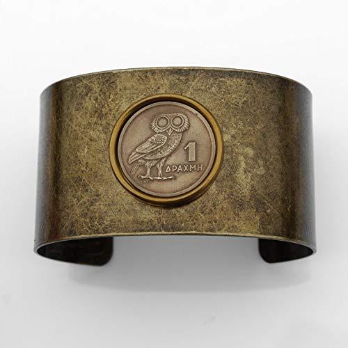 (1973 Greece 1 Drachma Athena's Owl & Phoenix Coin Solid Brass Antique Finish Cuff Bracelet - Wildlife Animal)