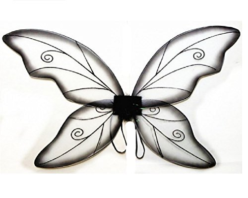 Costume Fairy Wings - Large (34in) Pixie Princess Dress up Wings By Cutie Collection (Adult, Black)