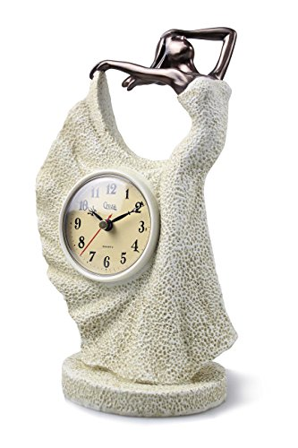 COMLZD® Dancing Beauty in White Dress Lady Sculptural Table Clock, Stylish Resin Mantel Clock Art Decor Figurine Collection Best Wedding Birthday Xmas Gifts, PC-5105