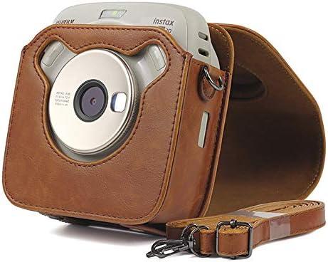 para FUJIFILM Instax Cuadrado SQ20 cámara PU Bolsa de Cuero Caso Vintage Correa para el Hombro Bolsa cámara Lleva Cubierta de protección Caso (Marrón)