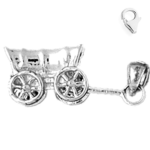 Jewels Obsession Carriage Charm | 14K White Gold Carriage Charm Pendant - 9mm