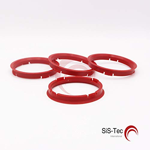 4x Centering Ring 66.45/mm to 57.1/mm Red//Red