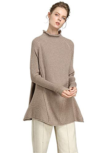 RanRui Womens Cashmere Sweater Tunics Cardigan Casual Loose Long Sleeve Sweater top(One Size, 8018 Camel)