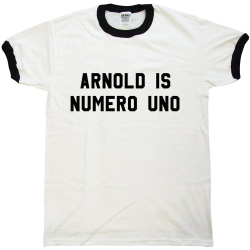 Mens As Worn By Arnold Schwarzenegger T Shirt - Numero Uno - White & black ringer - (Arnold Is Numero Uno T-shirt)
