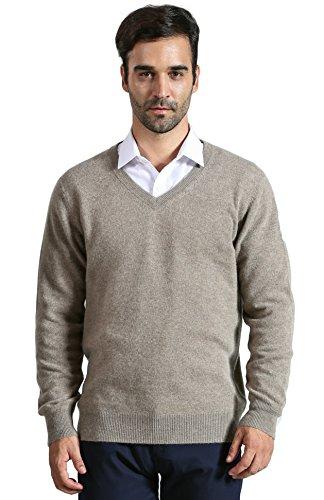DYS CASHMERE Mens 100% Cashmere Long Sleeve Pullover V Neck Sweater,Large,Camel
