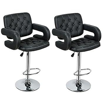 COSTWAY PU Leather Swivel Adjustable Bar Stools With Armrest Hydraulic Pub Chair, Set of 2 (Black)