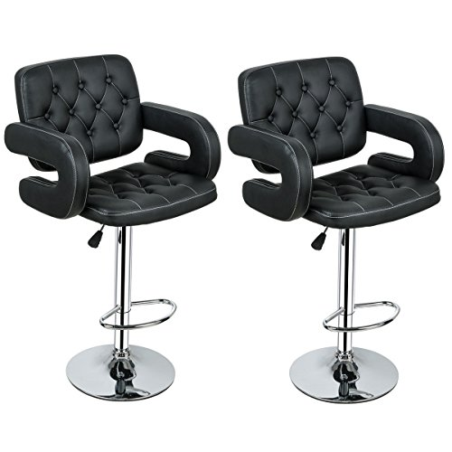 Costway PU Leather Swivel Adjustable Bar Stools With Armrest Hydraulic Pub Chair, Set of 2 (Ageing Set)