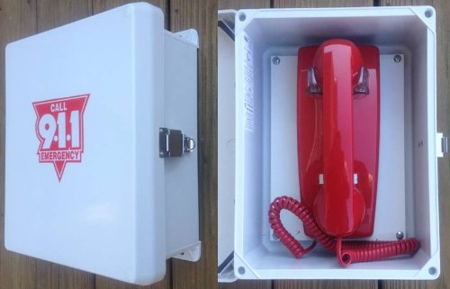 Outdoor Telephone Enclosures (Outdoor Emergency Phone Weatherproof Enclosure Box System - Direct Dial / Hot-Line Phone Dials Programmed number when Lifted - MADE FOR OUTDOOR)