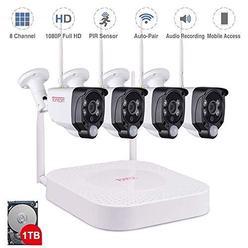 Tonton 1080P Full HD Wireless Security Camera System, 8CH NVR...