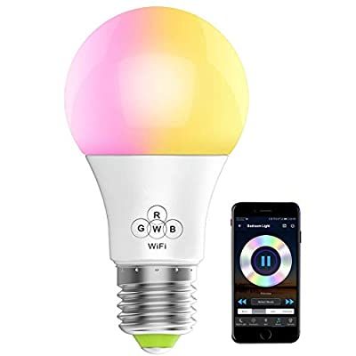 WiFi Smart Dimmable LED Bulbs, Music Sync RGB Color Changing Light Bulb, Compatible with Alexa, Echo, Google Home and IFTTT, A19 40W Equivalent by 4.5W