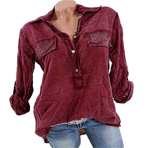 Vin Pure Chemisier Sexy Womens V Neck Reverse Tops Color 5Xl Shirt Tee S Du Pocket LULIKA Fashion Shirts wTgqYgA