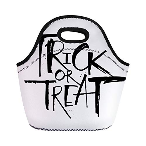 Semtomn Neoprene Lunch Tote Bag Trick Treat Lettering for Halloween Modern Brush Letters Flyers Reusable Cooler Bags Insulated Thermal Picnic Handbag for Travel,School,Outdoors,Work ()