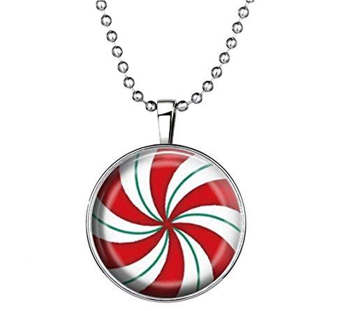 Winter's Secret Personality Unisex Christmas Ribbon Noctilucence Round Shape Pendant Necklace (Rust Dark Pendant Mini)
