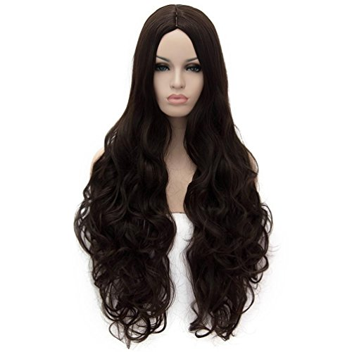 Flovex Women Long Wavy Cosplay Wigs Ladies Sexy Natural Costume Club Party Daily Hair with Wig Cap (Dark Brown)
