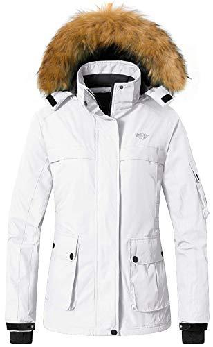 90c88fd840f Wantdo Women s Winter Ski Jacket Hooded Mountain Waterproof Rainwear  Windproof Winter Coat for Snowboarding(White