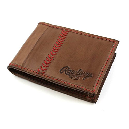 Rawlings Men's Baseball Stitch Front Pocket Wallet, Brown, OS