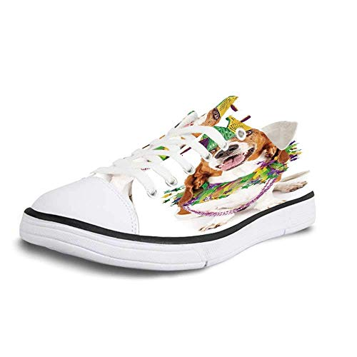 Canvas Sneaker Low Top Shoes,Mardi Gras,Happy Smiling Basset Hound Dog Wearing a Jester Hat Neck Garland Bead Necklace Decorative Man 12