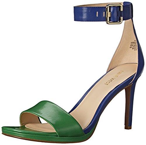 Nine West Women's Meantobe Leather Dress Pump, Blue/Green, 6.5 M US