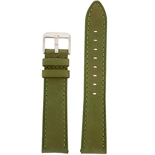 Watch Band Olive Green Genuine Leather Stitched Strap 14 Millimeter Tech Swiss