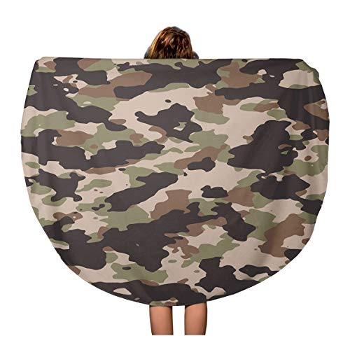 (Semtomn 60 Inches Round Beach Towel Blanket Brown Woodland Camouflage Pattern 200 Camo in My Portfolio Travel Circle Circular Towels Mat Tapestry Beach Throw)