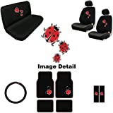 15 Piece Auto Interior Gift Set - Spring Red Ladybugs and Bubbles - A Set of 2 Seat Covers, 1 Rear Bench Cover, 1 Steering Wheel, A Set of 2 Seat Belt Pads, and A Set of 4 Plush Carpet Floor Mats