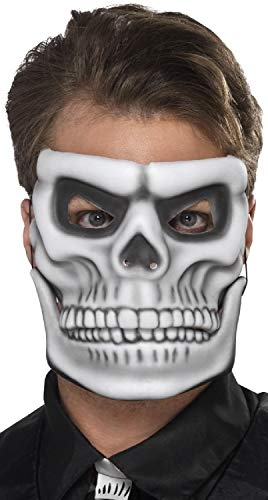 Mens Ladies White Skeleton Moving Jaw Halloween Day Of The Dead Scary Fancy Dress Costume Outfit Accessory Mask