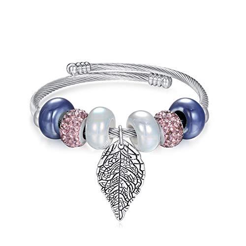 Life Tree Beaded Bracelet Bangle Jewelry Adjustable Stainless Steel Fashion Pendant Bracelet for Teen Girls Women(Leaf)