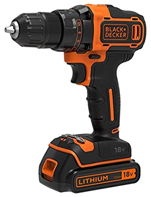 Black & Decker BDCDD186-QW - Taladro inalámbrico de 18 V con cargador y batería de 1,5 Ah