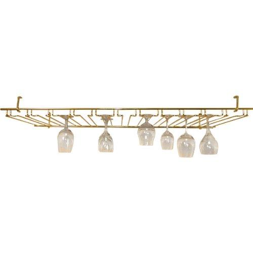 11 Channel Overhead Stemware Rack - Brass Colored