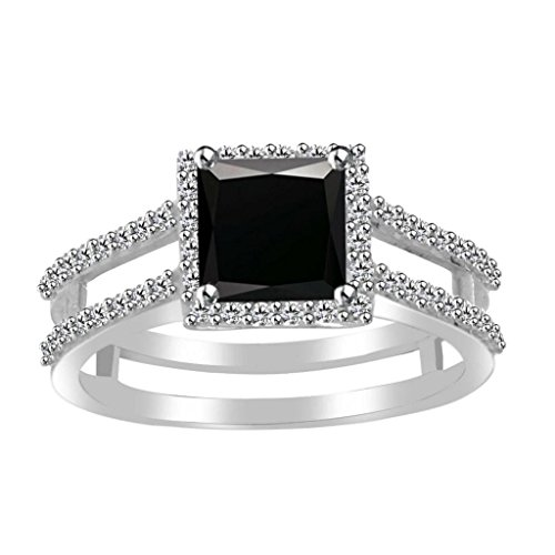 Jewelryhub 14k White Gold Plated 925 Sterling Silver 1.00 Ct Princess Cut Black Sapphire and Simulated Diamond Halo Engagement Ring for Women