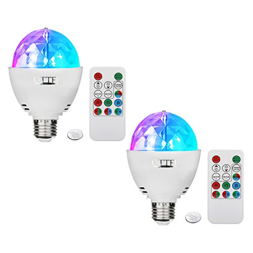 OTTFF Dimmable E27 RGB LED Party Lighting Bulb Disco DJ Stage Bar Xmas Effect with Remote Control(2 Pack