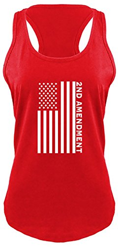 Comical Shirt Ladies Second Amendment American Flag Graphic Tee Racerback